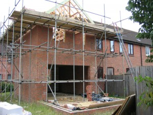 Rear of property with extension in progress to the left